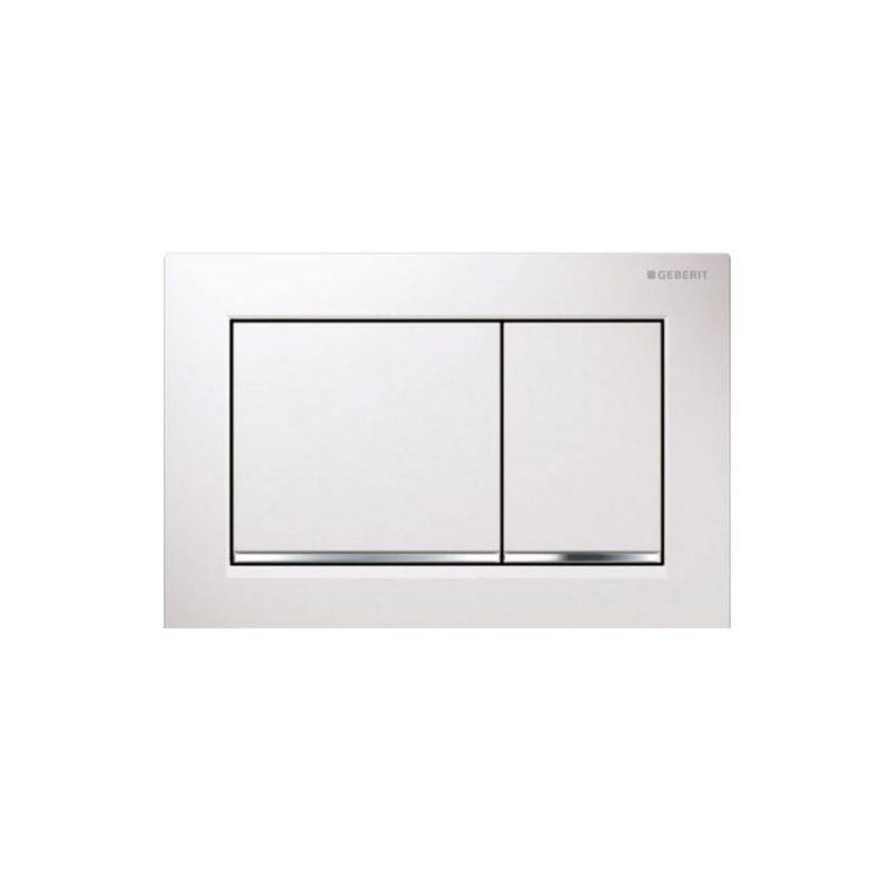 Πλακέτα GEBERIT OMEGA 30 Λευκό-Χρωμέ γυαλιστερό-Λευκό